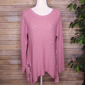 LC Lauren Conrad Thin Knit Lace Sweater Sz M Mauve